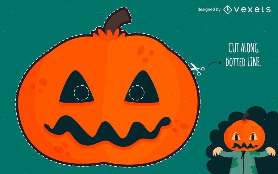 Carved pumpkin Halloween mask