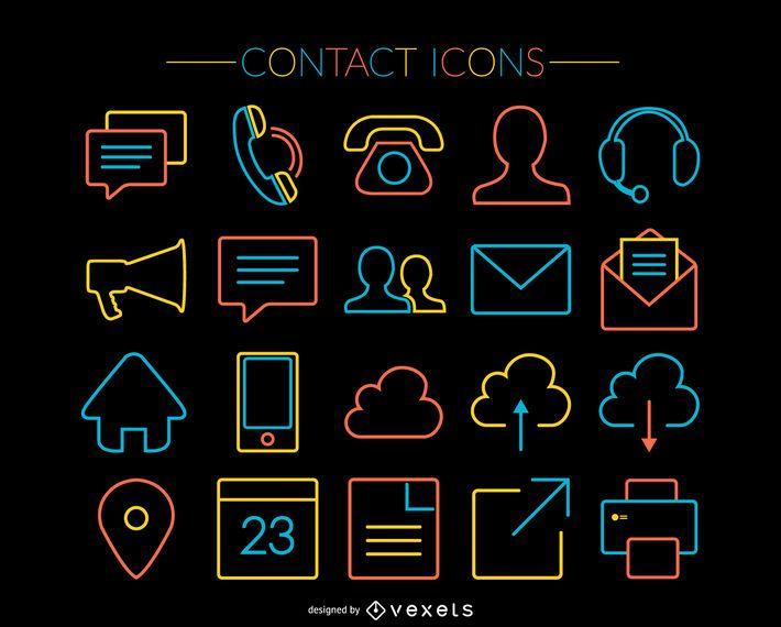 20 iconos de contacto de trazo brillante