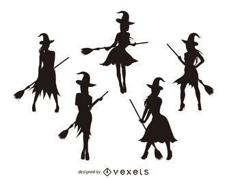 Siluetas de brujas aisladas