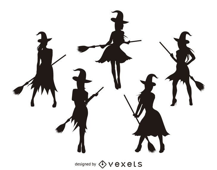 Isolated witch silhouettes