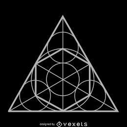 Diseño de geometría sagrada círculo triángulo