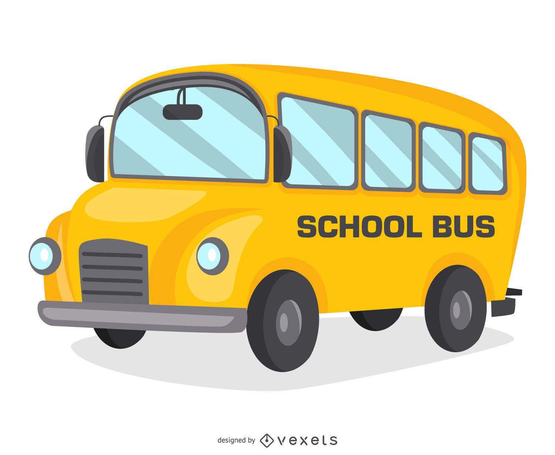 Desenho de desenho animado de ônibus escolar