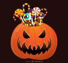 Abóbora de Halloween com doces