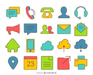 Iconos de contacto coloridos con trazo