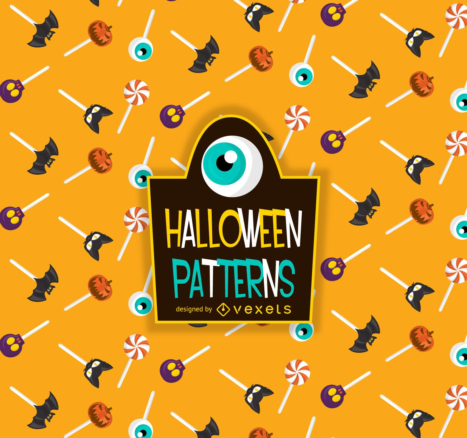 Halloween candy lollipop pattern - Vector download
