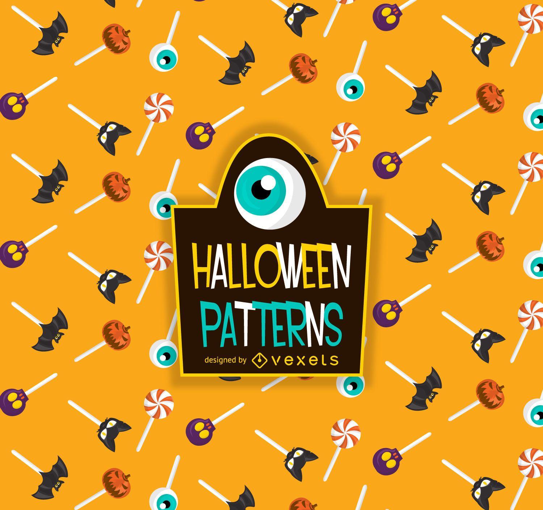 Patrón de piruleta de caramelo de Halloween