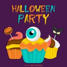 Cartel fiesta de halloween con calabazas