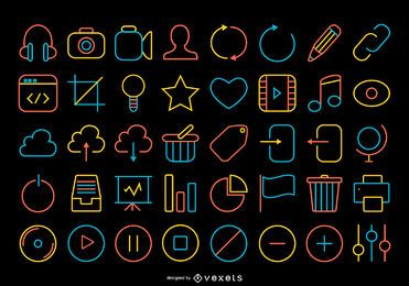 Colección de iconos de contacto accidente cerebrovascular
