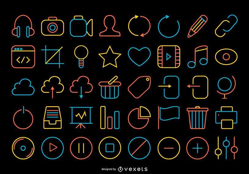 Coleção de ícones de contato de traço