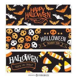 3 banderas planas de Halloween