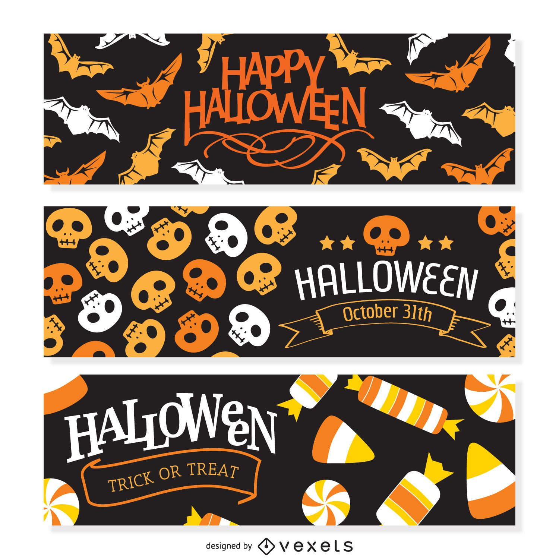 3 flat Halloween banners