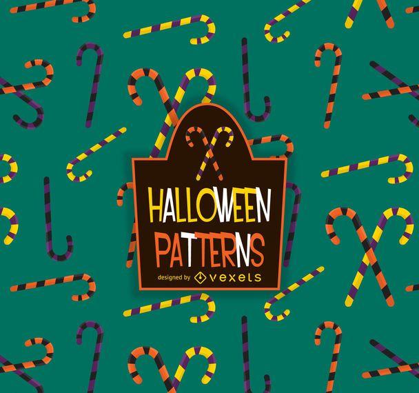 Patrón de bastón de caramelo de Halloween
