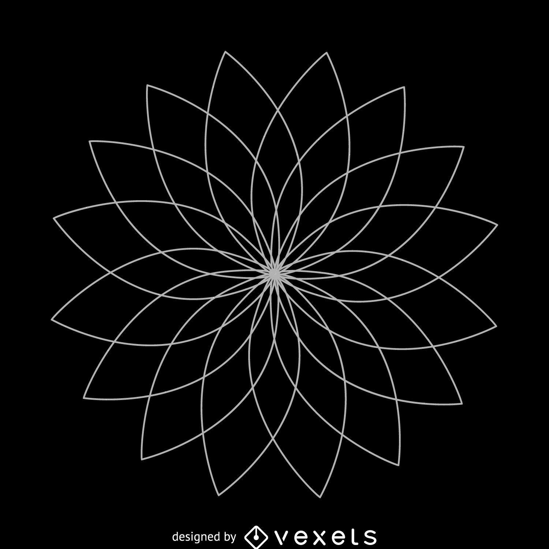 Desenho de geometria sagrada da flor de lótus