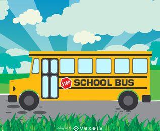 Projeto de ilustração de ônibus escolar plano