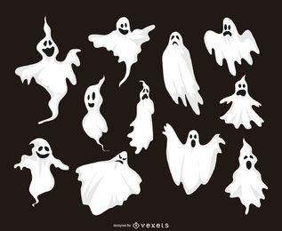 Coleção de 11 ilustrações fantasma