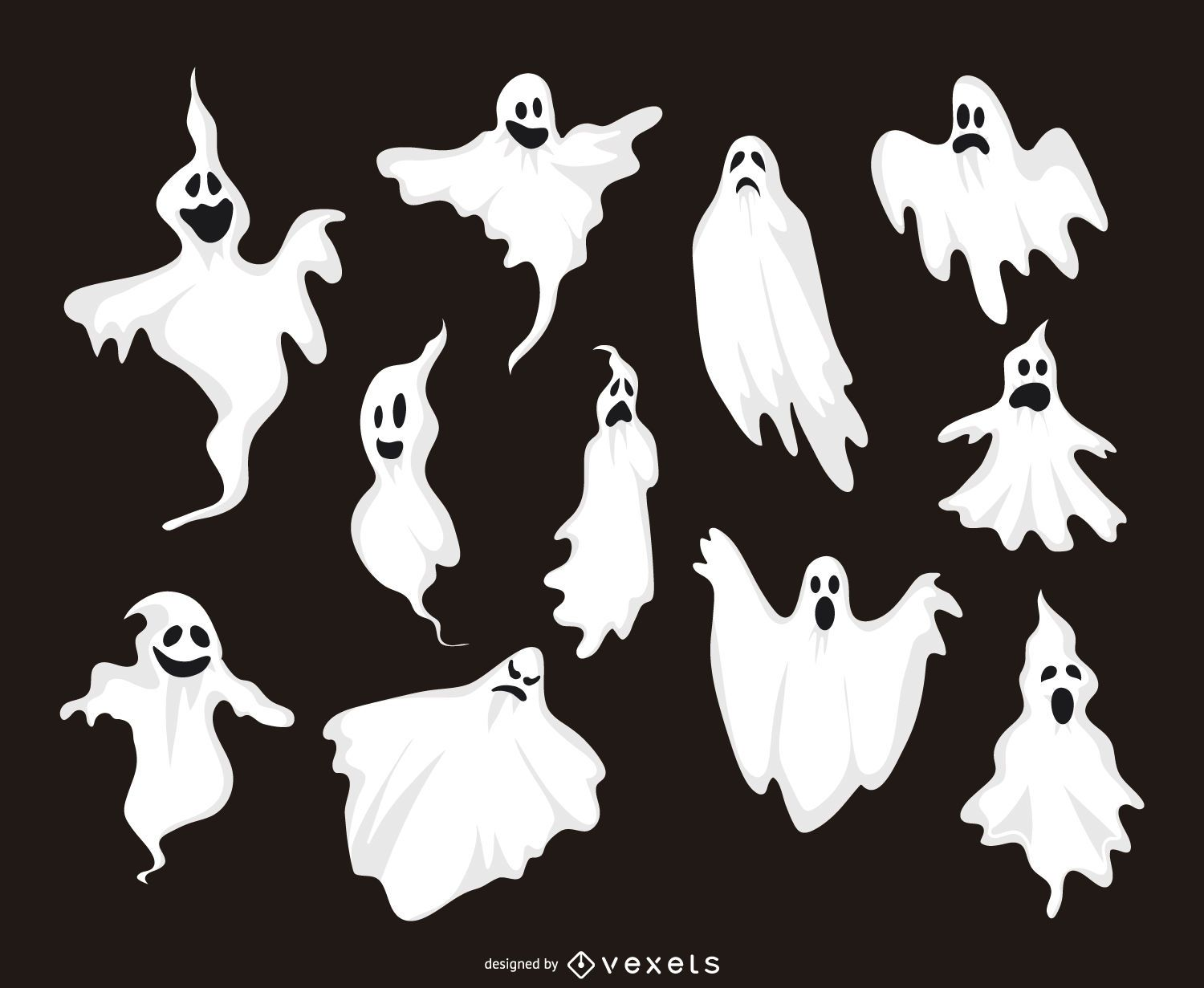11 ghost illustrations collection vector download. Black Bedroom Furniture Sets. Home Design Ideas