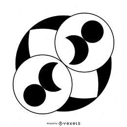 Círculos y círculo de cultivo lunar.