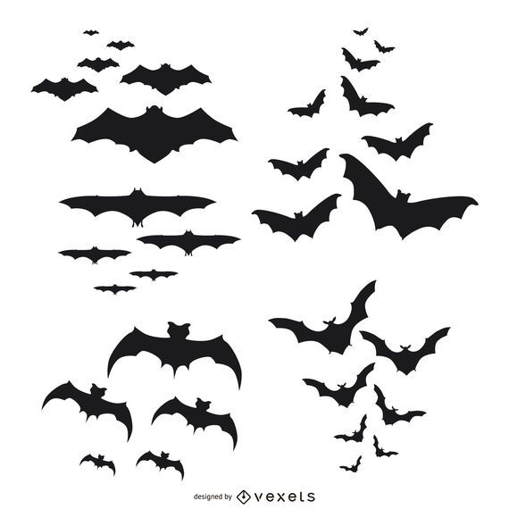 bats silhouettes flying set vector download