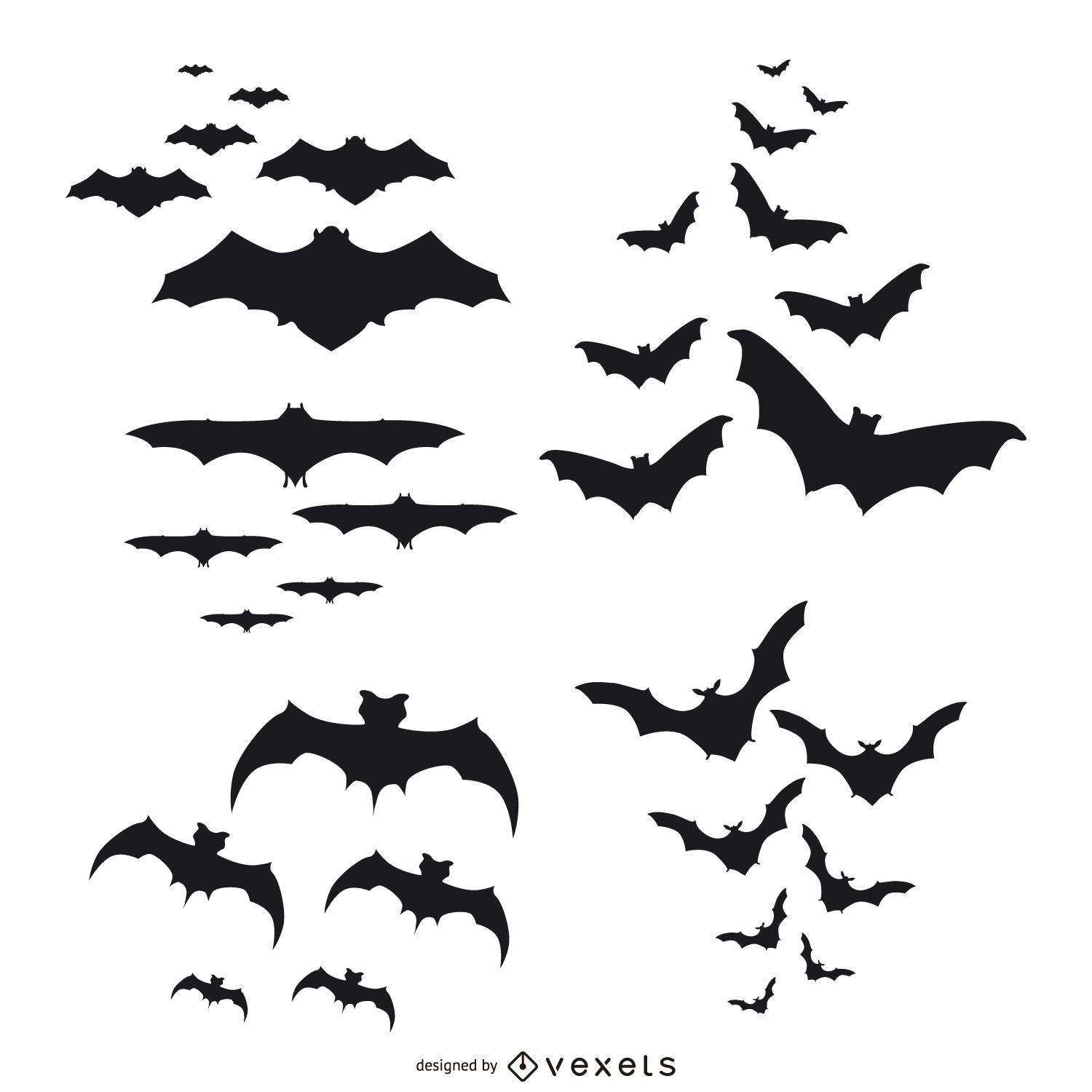Bats silhouettes flying set