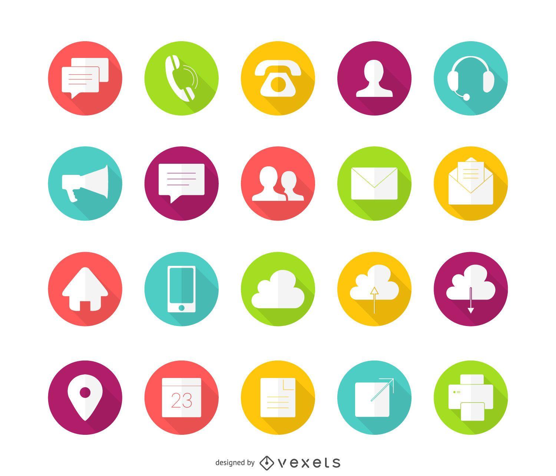 20 iconos de contacto de círculo plano