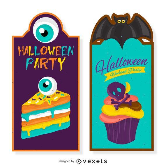 Halloween party invitation set
