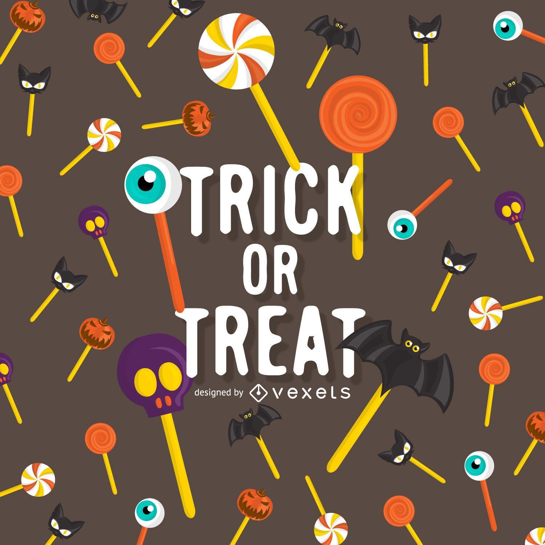 Diseño de piruleta de truco o trato de Halloween
