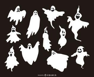 11 silhuetas de ilustrações fantasma