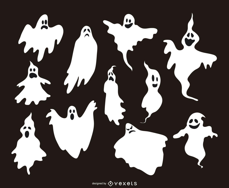 11 siluetas de ilustraciones de fantasmas