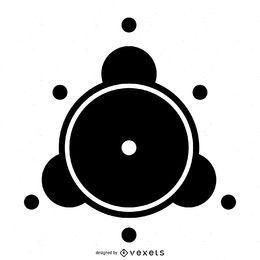 Elemento de silhueta de círculo de colheita abstrato