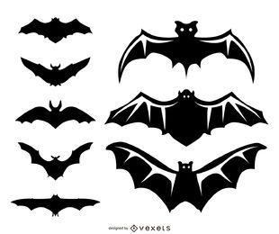 8 murciélagos ilustraciones y siluetas.