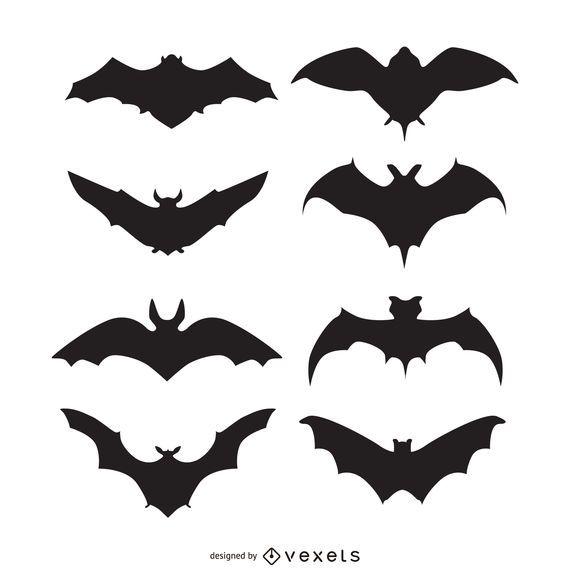 Conjunto de siluetas de murciélago