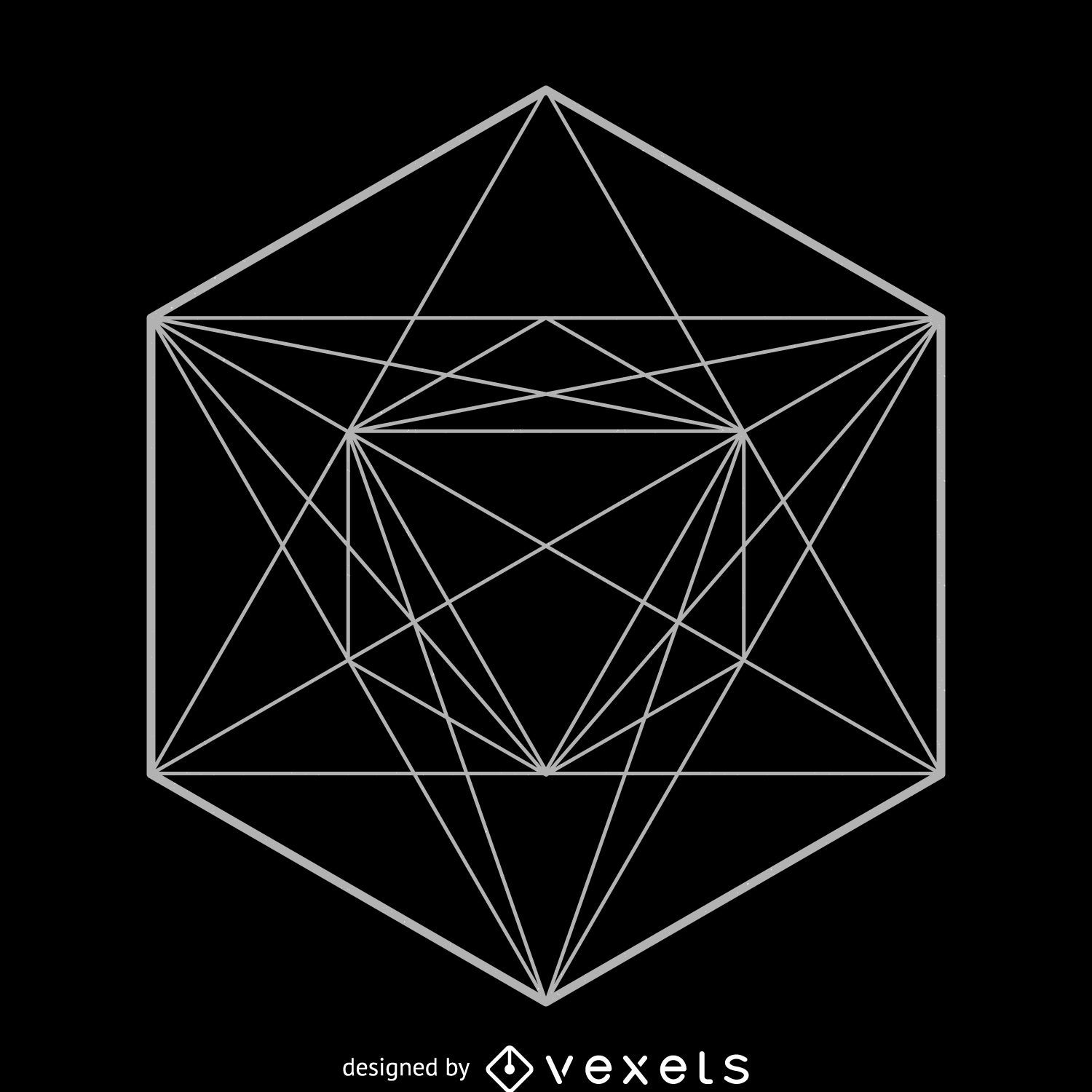 Geometric Line Design : Symmetrical sacred geometry design vector download