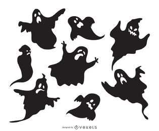 Conjunto de silhuetas de fantasma assustador