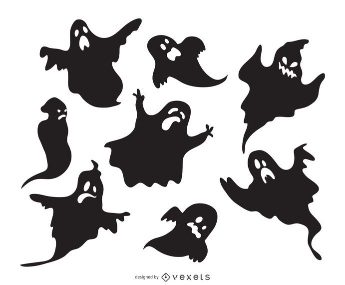 Spooky ghost silhouettes set