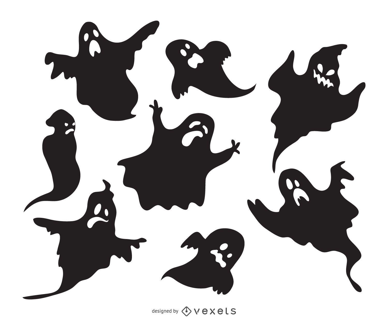 Conjunto de siluetas de fantasmas espeluznantes