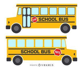 Ilustração de ônibus escolar amarelo isolado
