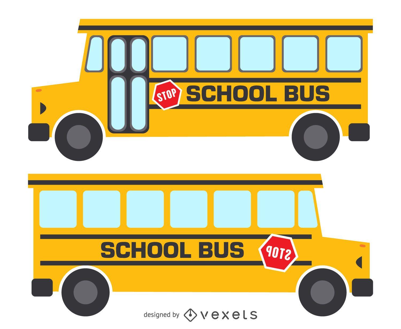 Ilustración de autobús escolar amarillo aislado