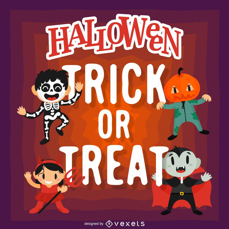 Diseño de halloween con dibujos animados.