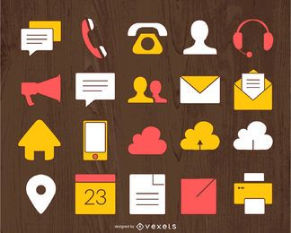 Conjunto de ícones de contato de negócios ilustrados