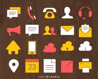 Conjunto ilustrado del icono del contacto de negocio
