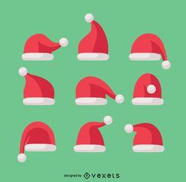 9 ilustrações de chapéu de Papai Noel de Natal
