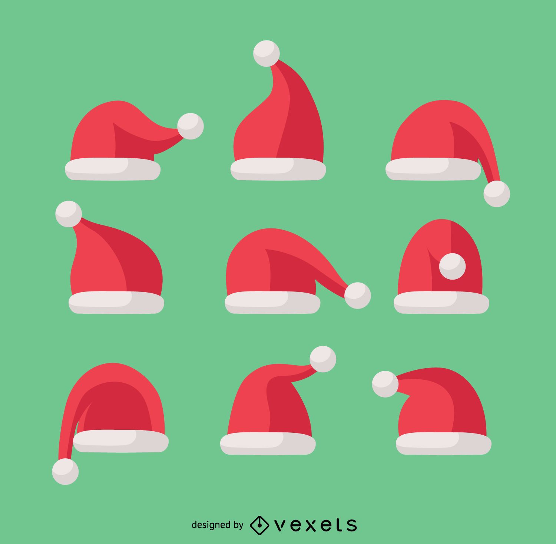 9 ilustra?es de chap?u de Papai Noel de Natal
