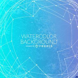 Blauer Aquarellhintergrund mit Ineinander greifen