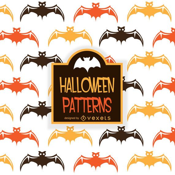 Illustrated Halloween bat pattern