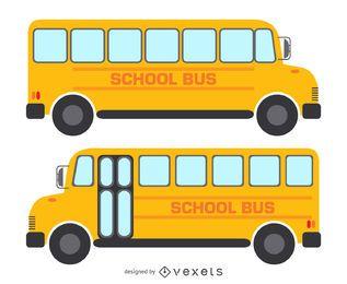 2 dibujos de autobuses escolares aislados