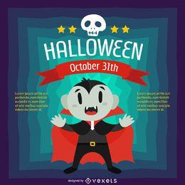 Design de Halloween com desenhos animados de vampiro