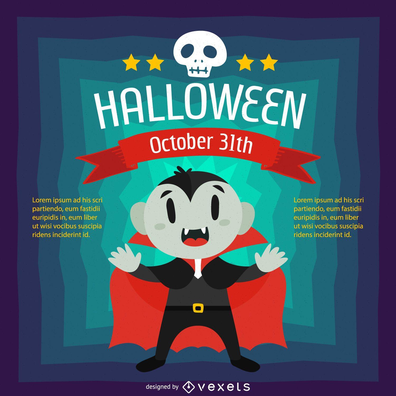 Halloween design with vampire cartoon