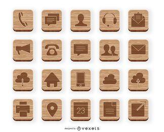 Coleção de ícones de contato de madeira