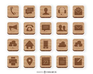 Wooden contact icon collection