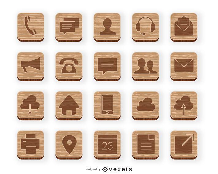 Coleção de ícone de contato de madeira